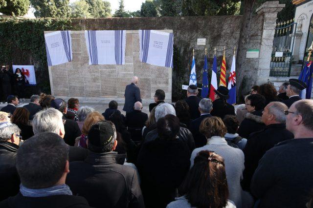 """""""Spomenik deportiranim"""" v spomin na Jude, ki so postajo iz Nice zapustili v taborišča za iztrebljanje"""